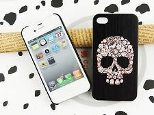 iPhone 4/ 4S Skull Phone Case Cover  White&Pink Get 1Protective Film Free