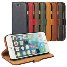 For iPhone 4S 5S 6 Plus Luxury Bark Grain Effect Leather Flip Wallet Cover Case