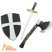 Medieval Knight Crusader Set Sword Axe & Shield Fancy Dress Accessory