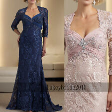 Long Mother Of The Bride Dresses Dark Blue Lace Sleeves Wedding Guest Party Gown