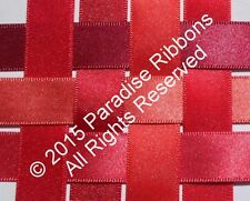 FULL ROLLS Berisfords Double Satin Ribbon 7 RED SHADES - Choose Width + Shade