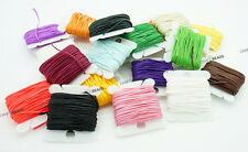 1x0.5mm Flat Waxed Polyester Braided Cord Beading Leather Craft String - 10yards