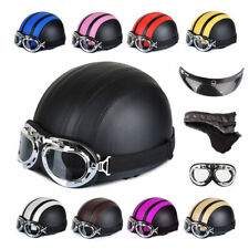 Motorcycle New Half Open Face Leather Helmet With Sun Visor and Goggles