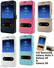 Window View Leather Flip Wallet Case Cover Stand For Samsung Galaxy Note 3,S5,S6