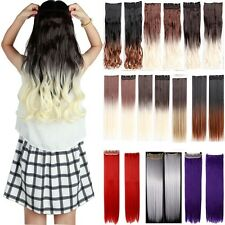 Clip In Straight Synthetic Dip Dye Ombre 5 Clips Hairpiece Slice Hair Extensions