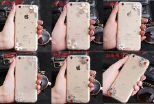 For Apple iPhone Bling Diamonds Flowers Crystal Rhinestone Clear hard Cover Case