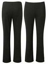 NEW LADIES PACK OF 2 BOOTLEG STRETCH FINALLY RIBBED TROUSERS BLACK SIZE 10-24