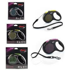 Flexi Polka Dot Design Retractable Tape Cord Leash Dog Lead 3 Sizes 4 Colours