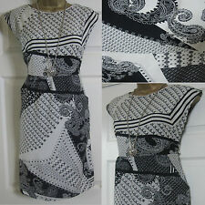NEW EX WHITE STUFF LADIES FLORAL ABSTRACT TEA SUN DRESS TUNIC BLACK WHITE 8-18