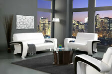 Modern Sofa & Loveseat Set Espresso Leather Sofa set Red Living room Couch White