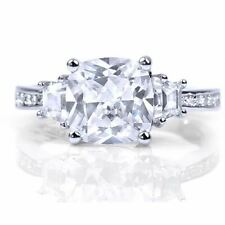 3 Stone Cushion Cut CZ Cubic Zirconia Sterling Silver Engagement Ring W Accents