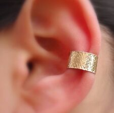 Fake Piercing Ear Conch Cuff Textured Hammered Yellow Gold Filled 7mm Wide Cuff