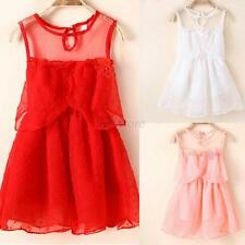 Cute 1-5Y Baby Girl Princess Sleeveless Tulle Tutu Dress Lace Vogue Sundress