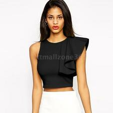 Fashion Women's Solid Crop Tops One-shoulder Ruffle Blouse T-Shirt Party Evening