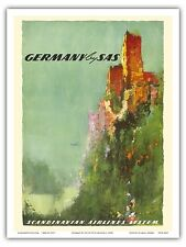 Germany Rhine River Valley Castle Vintage Airline Travel Art Poster Print