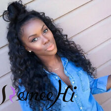 Queen Loose Curly 100% Brazilian Human Remy Hair Full /Front Lace WIGS BABY HAIR