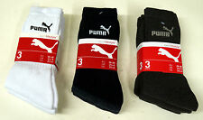 Puma Adult Sports Socks 3 Pair Pack  2.5-5 6-8 12-14 UK Size White Blue Mix Grey