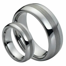 His & Her's 8MM/6MM Tungsten Carbide Domed Brushed Center Wedding Band Ring set