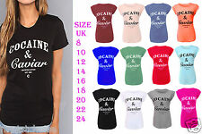 New Ladies Cocaine and Caviar Print Roll Up Cap Sleeve Womens Top T-Shirt 8-24