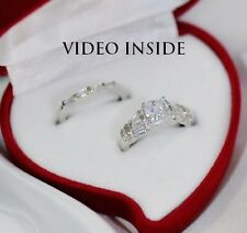 1.0CT 2Pcs Ring Set Engagement Ring Wedding Ring Platinum 22KT S.Made In Italy