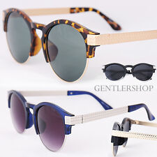 Mens Fashion Weave Pattern Gold Silver Temple Round Sunglasses 1508, GENTLERSHOP