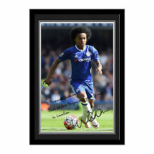 Personalised Chelsea FC Football Club Willian Autograph Photo Framed