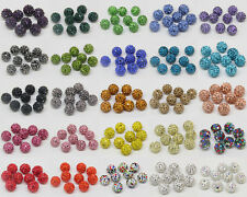 Fashion Czech Crystal Rhinestones Pave Clay Round Disco Ball Spacer Beads 20PCS