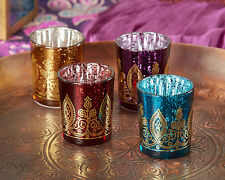 96 Boho Moroccan Indian Henna Glass Candle Holder Votive Bridal Wedding Favor