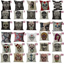 Fashion SKULL Style Linen Blend Throw Pillow Case Cushion Cover 1 Piece