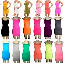 Lot Camisole Long Solid Spaghetti Strap Tank SLIP Mini DRESS One size M L XL
