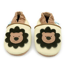 Dotty Fish Soft Leather Baby Shoes - Cream and Brown Lion - Newborn - 3-4 Years