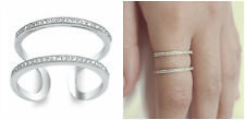 Sale! Sterling Silver 925 PRETTY TWO IN ONE CLEAR CZ BAND DESIGN RING SIZES 4-10