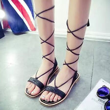 New Womens Strappy Open Toe Flat Gladiator Roman Sandals Knee High Lace Up Shoes