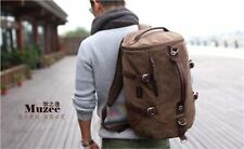 Men's Vintage Canvas Leather Hiking Travel Military Messenger Tote Bag Backpack