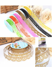 2pcs Lace Tape Roll Washi Paper Decor Sticky Crafts Self Adhesive Stickers DIY