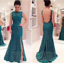 Womens Sexy Hollow Lace Sleeveless Evening Party Formal Cocktail Long Maxi Dress