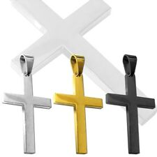 Pendant Plain Cross Crucifix for Chain Necklace Unisex Jewellery Stainless Steel