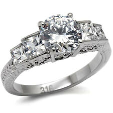 Stainless Steel Round Cubic Zirconia Princess CZ Accent Wedding Ring sz 5-10