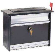 Large Aluminum Outdoor Locking Mailbox Security Wall Post Mounted Mail Drop Box
