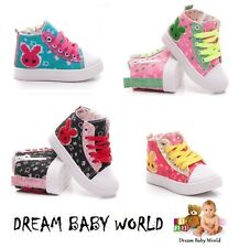 GLITTER Shoes Kids Girls Hi Tops Ankle Trainers Canvas Lace Up/Zip size 6 - 10UK