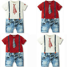 Cute Baby Boys Kids Newborn Overalls Romper Shorts Bodysuit Outfit Clothing Set