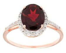 10k Rose Gold 3ct Oval Garnet and Pave Diamond Halo Ring