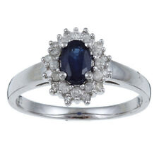 10k White Gold Genuine Blue Sapphire and Diamond Ring (1/4ct)