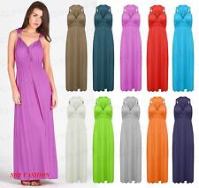 Womens Ladies Summer Stretch Spring Coil Long Jersey Maxi Dress Size 8-14