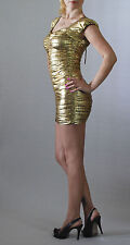 Metallic Gold Ruched Bodycon Cocktail Party Clubbing Mini-Dress Cap Sleeves
