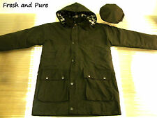 New Wax Cotton Brown Padded Country Jacket with Matching Brown Wax Flat Cap