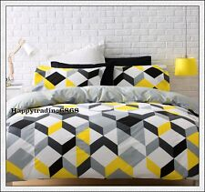Yellow Black White Grey Geometric KING QUEEN DOUBLE SINGLE QUILT DOONA COVER SET