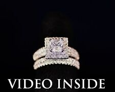 Luxury Princess Cut 2.CT 2Pcs Engagement Diamond Ring Platinum 22KT Silver ITALY