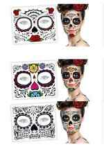 3 Day of the Dead Dia de los Muertos FACE TATTOOS zb Skull Halloween Costume