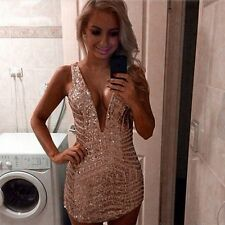 Vintage Bodycon MINI Dress Sexy Gold Sequined V-Neck Backless Party Dresses New